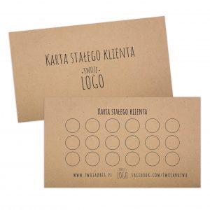 Karta stałego Klienta na szarym papierze, z logo